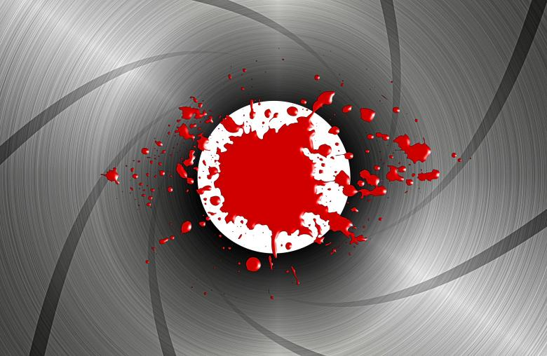 Free Stock Photo of Blood spatter down the barrel of a gun - James Bond-style Created by Jack Moreh