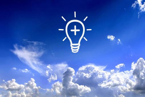 Lightbulb in the sky - Brilliant ideas concept - Free Stock Photo