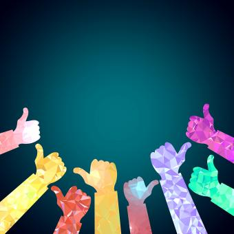 Thumbs up of many people - Congratulations concept with copyspace - Free Stock Photo