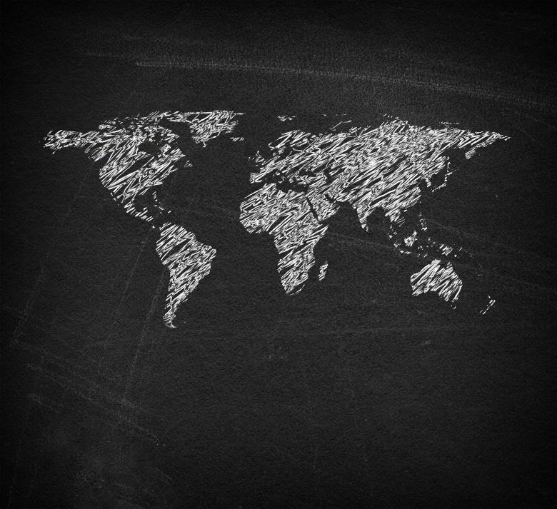 Free Stock Photo of  World map on blackboard - Sketchy looks Created by Jack Moreh