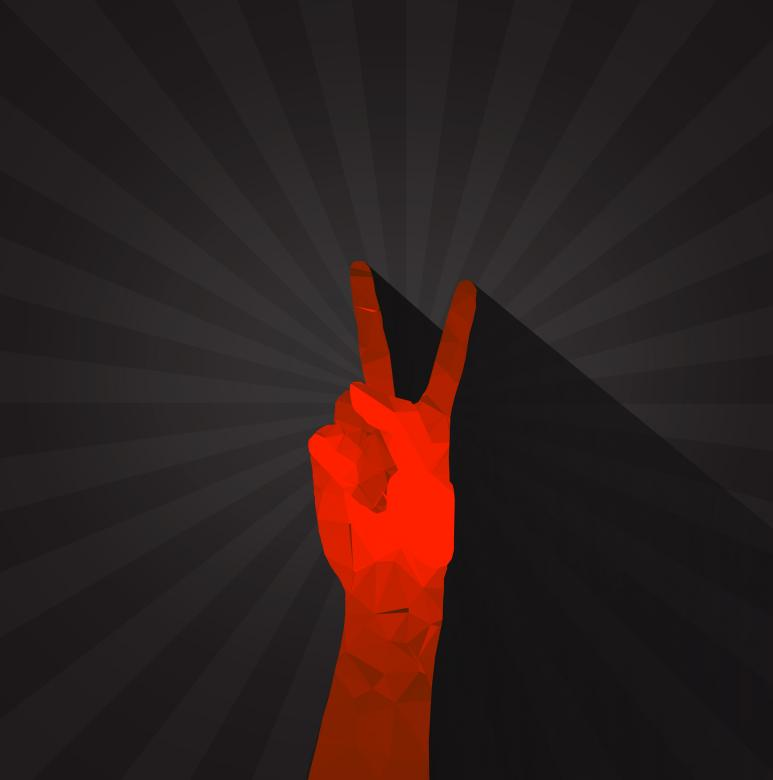 Free Stock Photo of Polygonal hand displaying victory sign Created by Jack Moreh