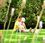 Free Photo - Sweet older brother hugging his young sister on the grass
