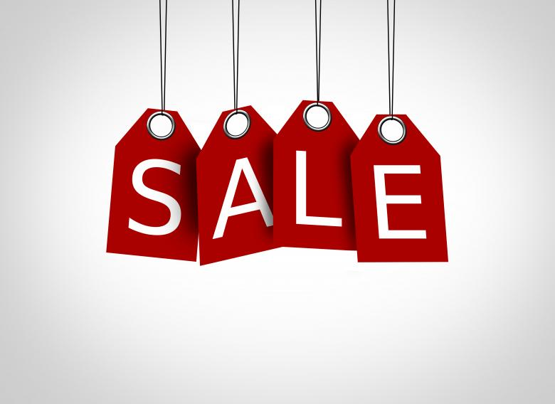 Free Stock Photo of Red tags dangling with the word sale - Sales concept Created by Jack Moreh