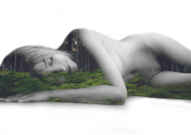 Sleeping beauty - A naked princess of the woods - Free Multiple Exposure Stock Photos