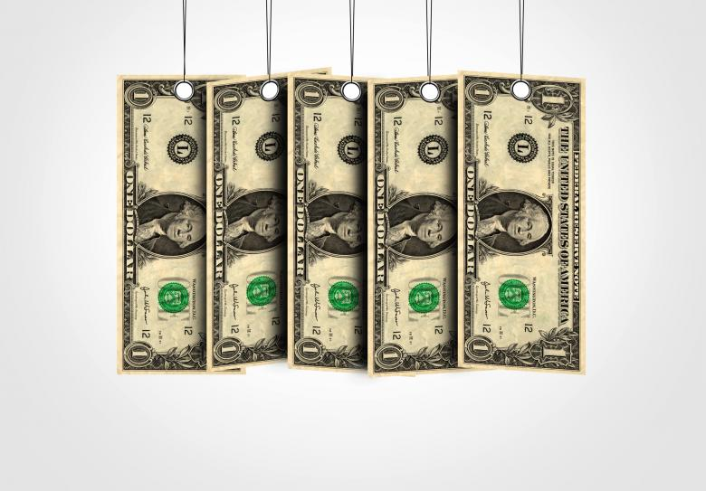 Dollar bills as labels hanging from a thread - Free Tax Stock Photos