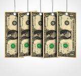 Free Photo - Dollar bills as labels hanging from a thread