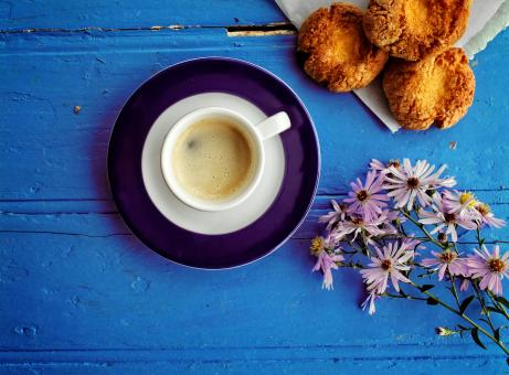 Morning glory - A delicious coffee and cookie breakfast at the farm - Free Stock Photo