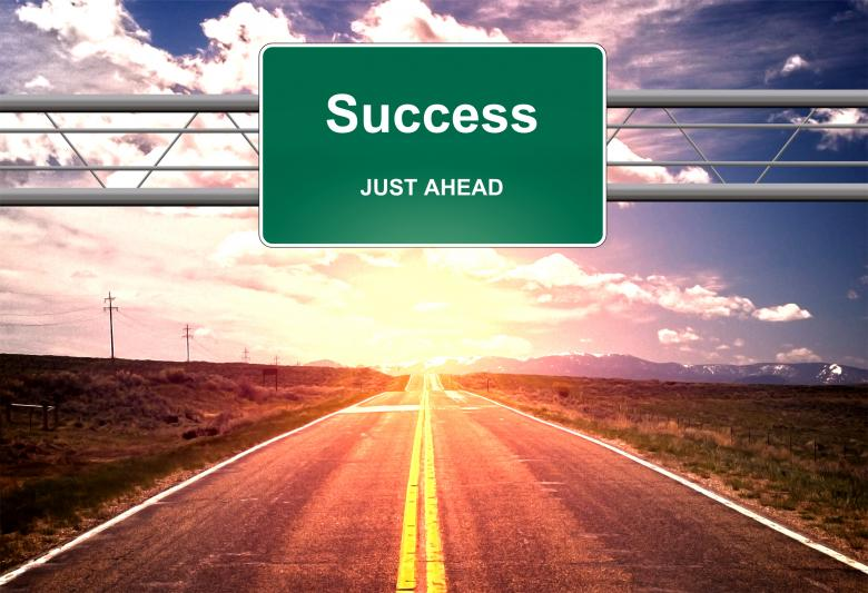Free Stock Photo of Success Just Ahead road sign - Success and successful life concept Created by Jack Moreh