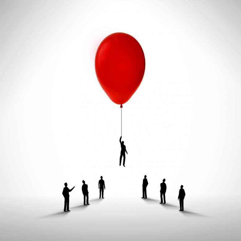 Businessman rising by holding a balloon - Free Business Illustrations