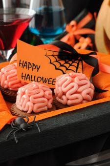 Cookies with marzipan brains for Halloween - Free Stock Photo