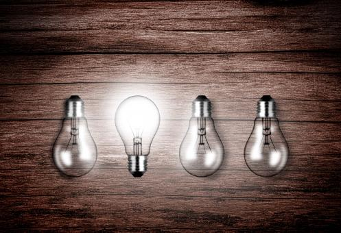 Lightbulbs on wood - Free Stock Photo