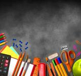 Free Photo - Illustration of school supplies and material on blackboard background