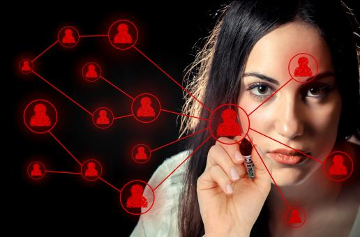 Woman sketching a social network on virtual screen - Free Stock Photo