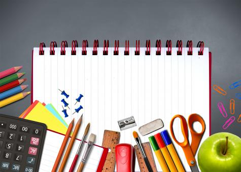 School supplies on notebook - Study and learning concept - Free Stock Photo
