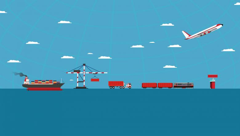Logistics concept with cargo transportation - Free Travel Illustrations
