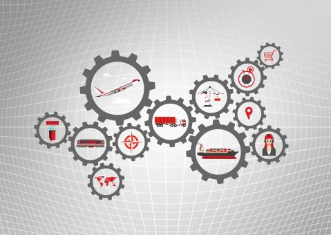 Global logistics concept with transport industry icons - Free Stock Photo