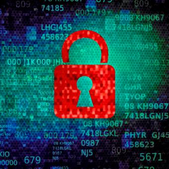 Cyber security concept with red padlock on data screen - Free Stock Photo