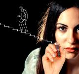 Free Photo - Woman sketching a businessman climbing stairs