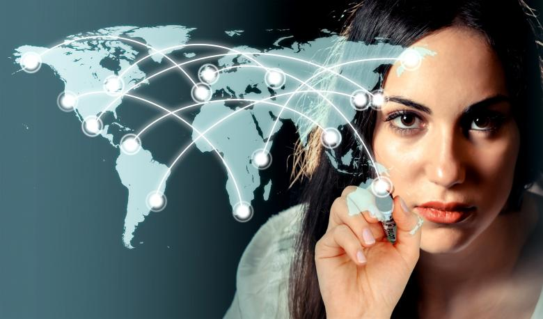 Free Stock Photo of Woman drawing a network over a virtual world map