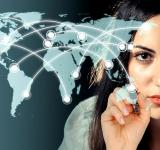 Free Photo - Woman drawing a network over a virtual world map