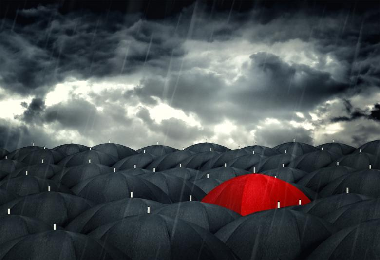 Free Stock Photo of Red umbrella mingling with grey umbrellas - Be different concept