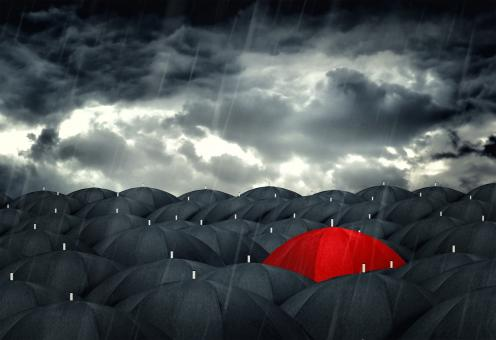 Red umbrella mingling with grey umbrellas - Be different concept - Free Stock Photo