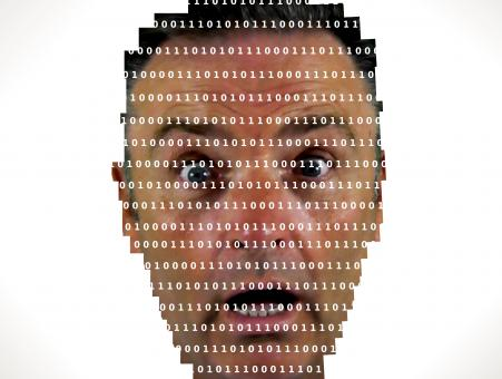 Surprised man looking into binary code - The online privacy problem - Free Stock Photo