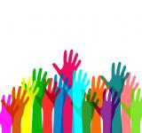 Free Photo - Colorful hands raised in happiness - With copyspace