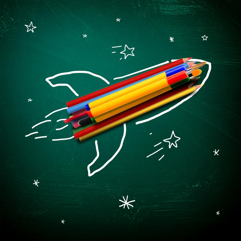 Free Stock Photo of School stationery on a rocket - School and learning concept Created by Jack Moreh