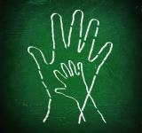 Free Photo - Joining hands - A child and an adult join hands on chalkboard