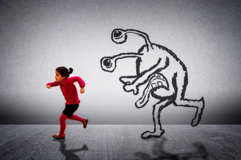 Free Stock Photo of Little cute child running away from a monster Created by Jack Moreh