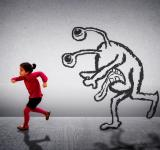 Free Photo - Little cute child running away from a monster
