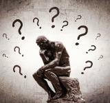 Free Photo - Rodins Thinker surrounded by question marks