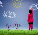 Free Photo -  Little girl painting the sky - Child joy and happiness concept
