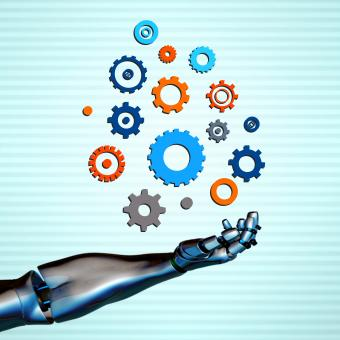 Robotic arm with gears - Automation and artificial intelligence concep - Free Stock Photo