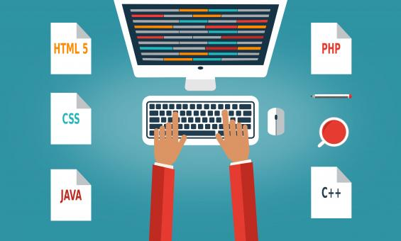 Programmer at the desk with programming languages - Colorful version - Free Stock Photo