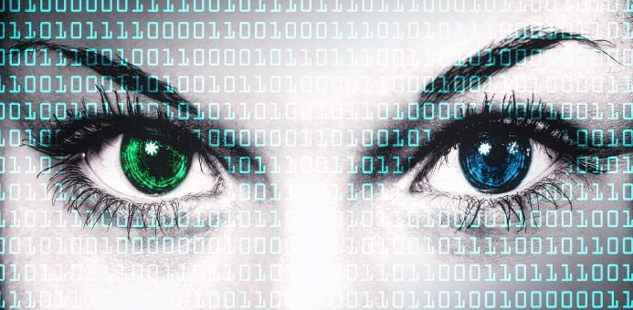 Binary computer code on human face - Online privacy concept - Free Stock Photo