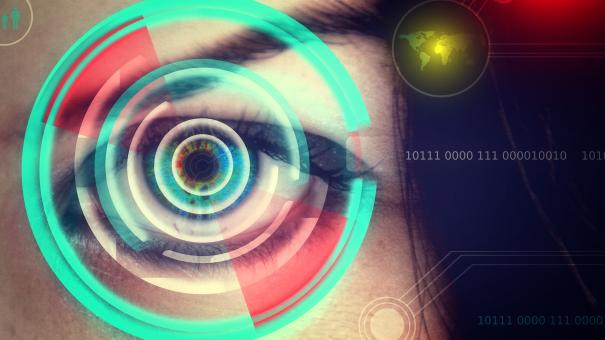 Human eye being scanned on virtual screen - Biometrics concept - Free Stock Photo