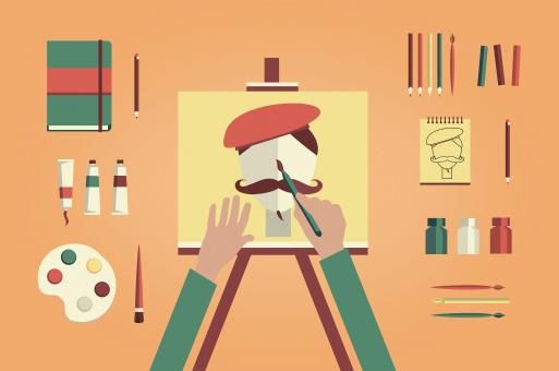 Artist painter painting self-portrait - Free Stock Photo