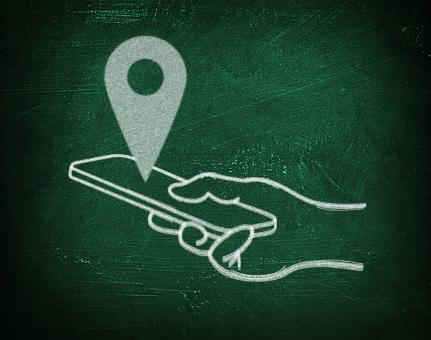 Location with virtual gps maps - Chalkboard drawing - Free Stock Photo
