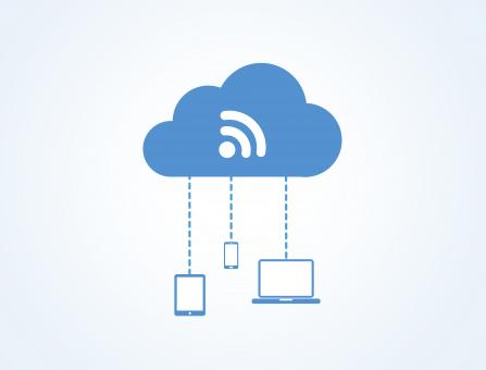 Devices connected to the digital cloud - Blue version - Free Stock Photo