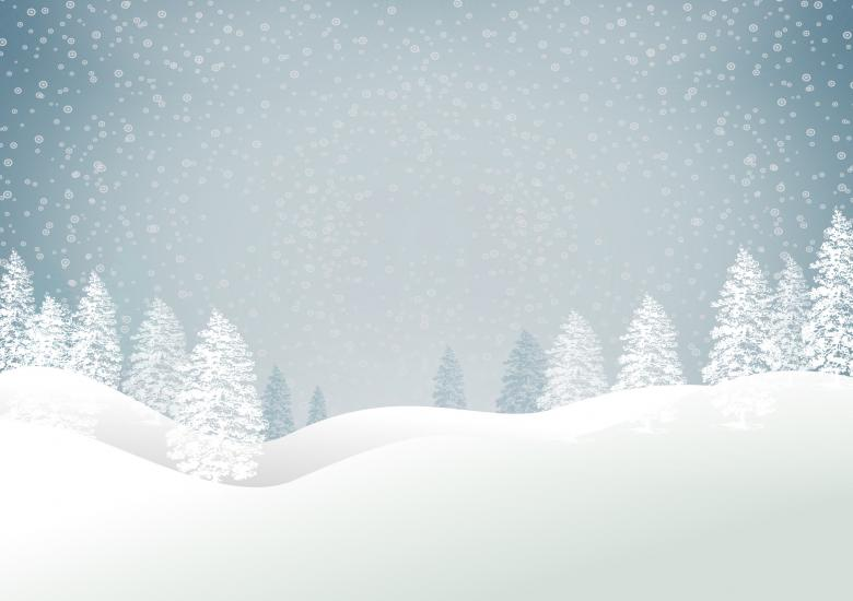 Christmas snowy landscape with trees - Xmas card with copyspace - Blue - Free Christmas Stock Photos