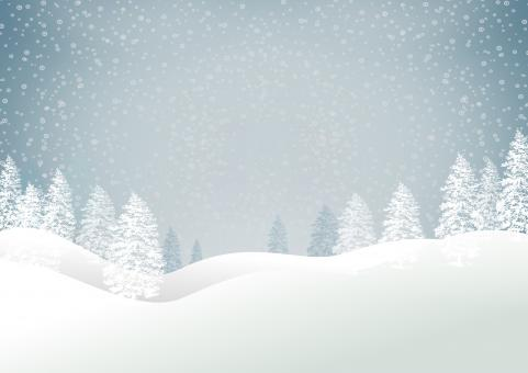 Christmas snowy landscape with trees - Xmas card with copyspace - Blue - Free Stock Photo