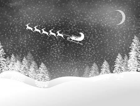 Snowy Christmas night landscape with Santas sled and reindeer - Free Stock Photo