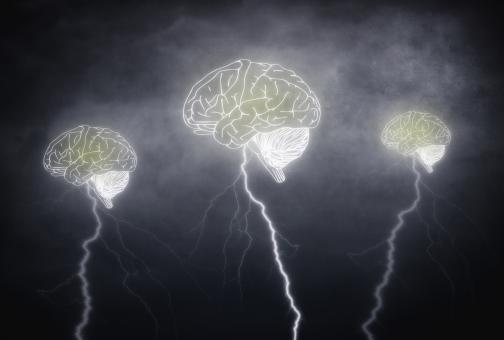 Brainstorming - Three brains with thunderbolts on cloudy sky - Free Stock Photo