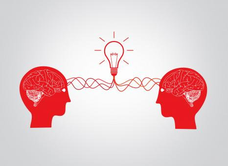 On the same wavelenght - Two brains having an idea - Free Stock Photo