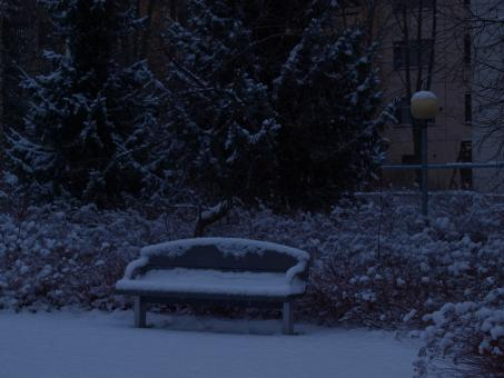 Snowy bench - Free Stock Photo