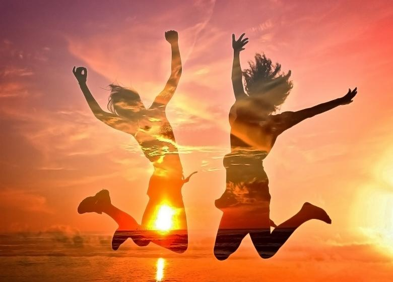 Two Girls Cheering on the Beach - Free Multiple Exposure Stock Photos