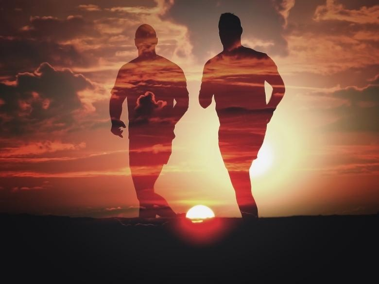 Men Running at Sunset - Double Exposure Effect - Free Red Stock Photos