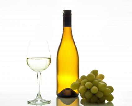 Wine with glass bottle and grapes - Free Stock Photo